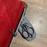 Red Waxed Canvas and Velvet Notions Pouch