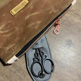 Brown Waxed Canvas and Leather Notions Pouch