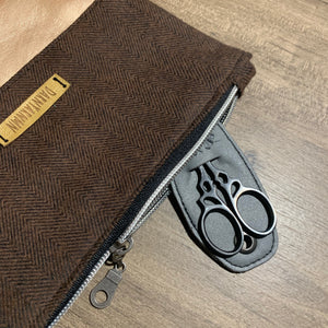 Brown Flannel and Vinyl Notions Pouch