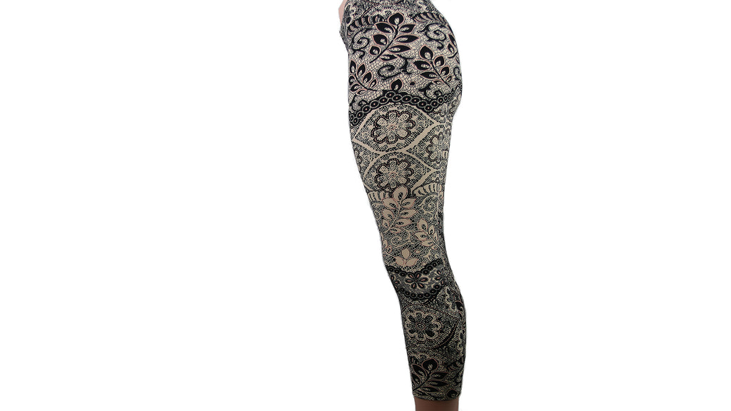White and Black Paisley Capris