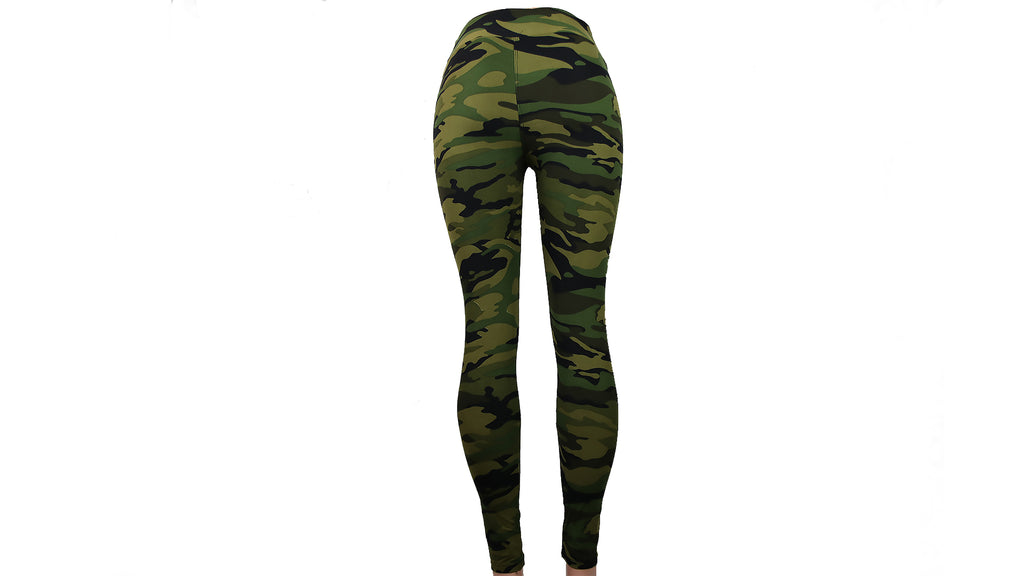 High Waist Green Camouflage Leggings