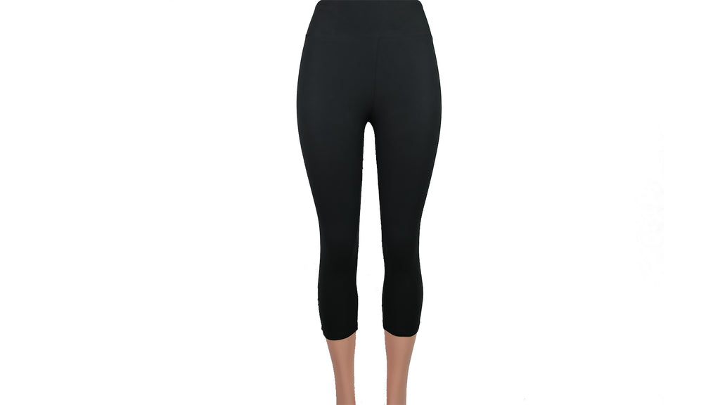 High Waisted Basic Solid Capri Leggings 3 Inch Band