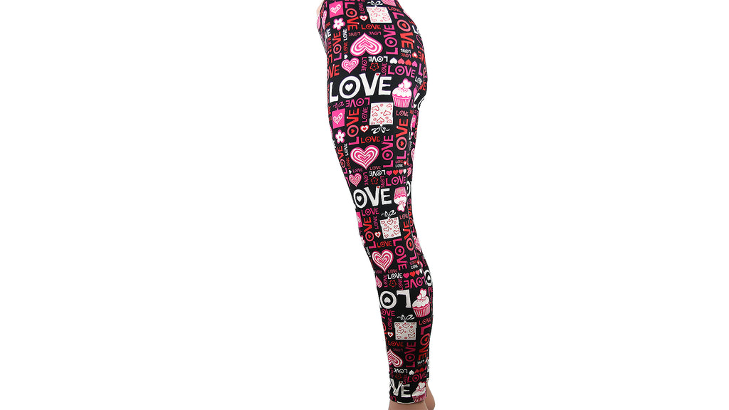 Red and Pink Love Leggings