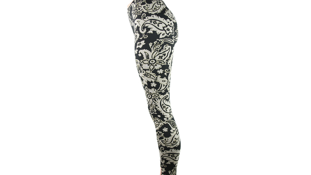 Black and Beige Paisley Leggings