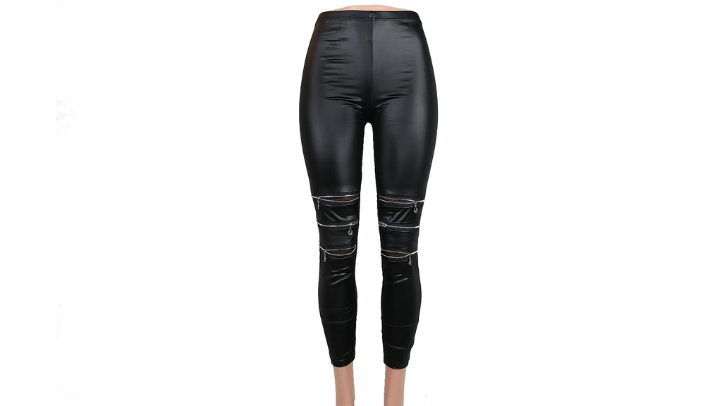 Zippered Faux-Leather Fashion Leggings