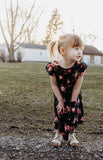 Little Girl's Black Floral Jersey Dress with Pockets