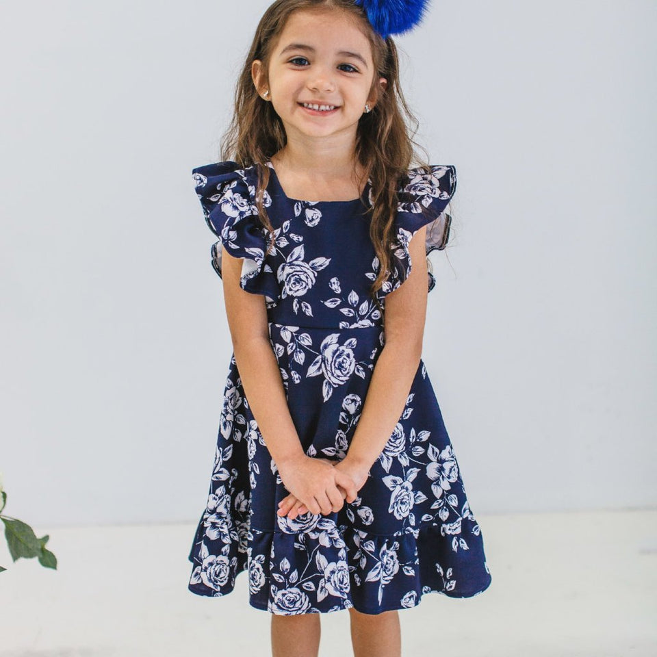 navy and white flower dress