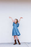 little girls chambray floral dress