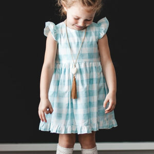 Little Girl's Robin's Egg Blue Gingham Plaid Flutter Sleeve Dress
