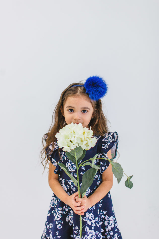 girls navy and white floral dress