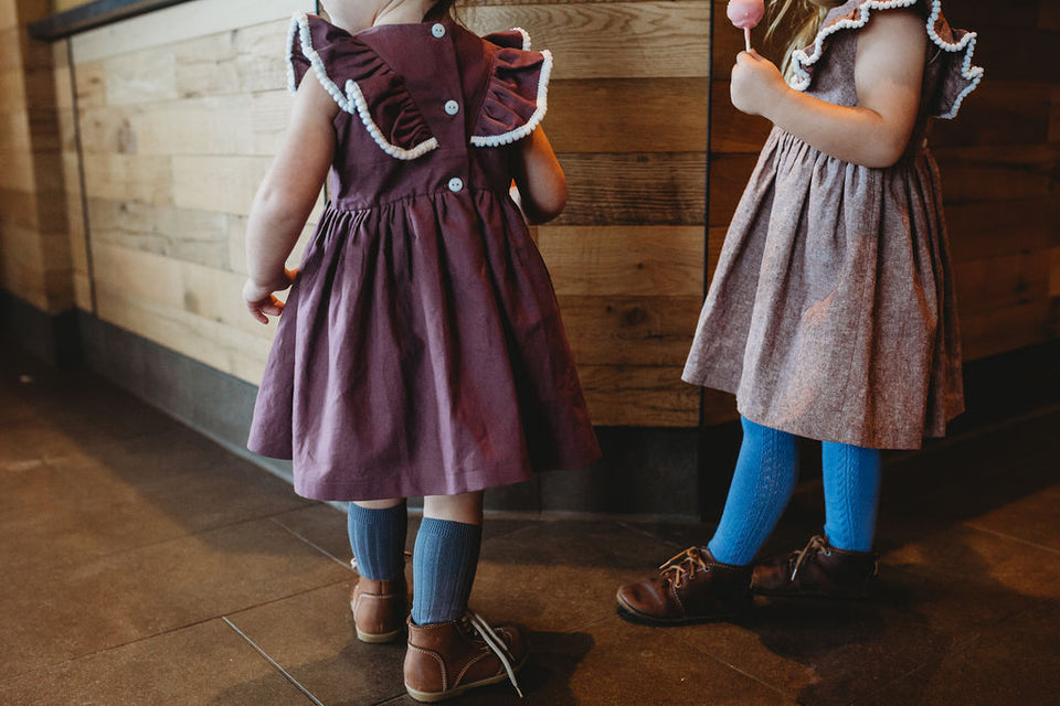 Girl's Dark Purple Linen Ruffle Dress