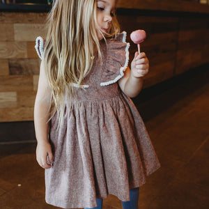 Girl's Burnt Red Linen Ruffle Dress