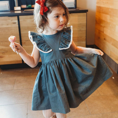 gray linen dress kids