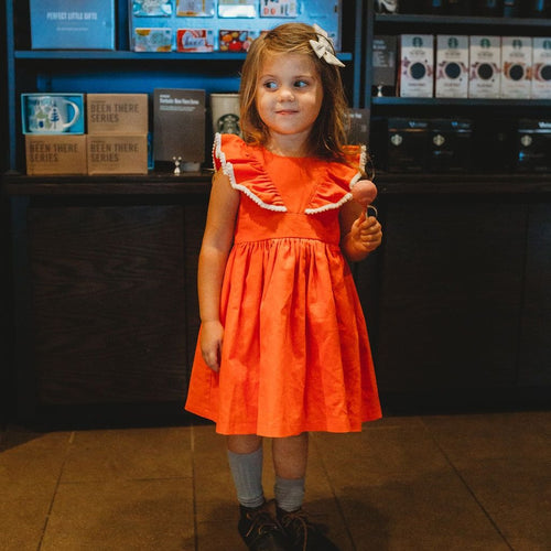 Fall linen kids dress