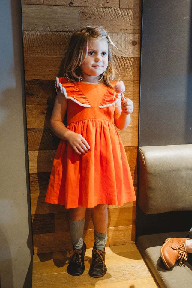 orange pinafore dress