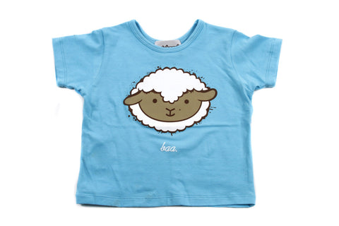 Modern Lamb Toddler Girls T Shirt in Aqua Blue
