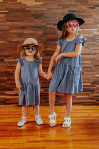 Little Girl's Gray Flutter Sleeve Jersey Dress