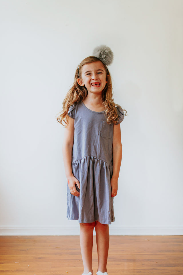 little girls gray jersey dress