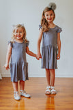 kids gray flutter sleeve dress