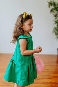 emerald green kids dress