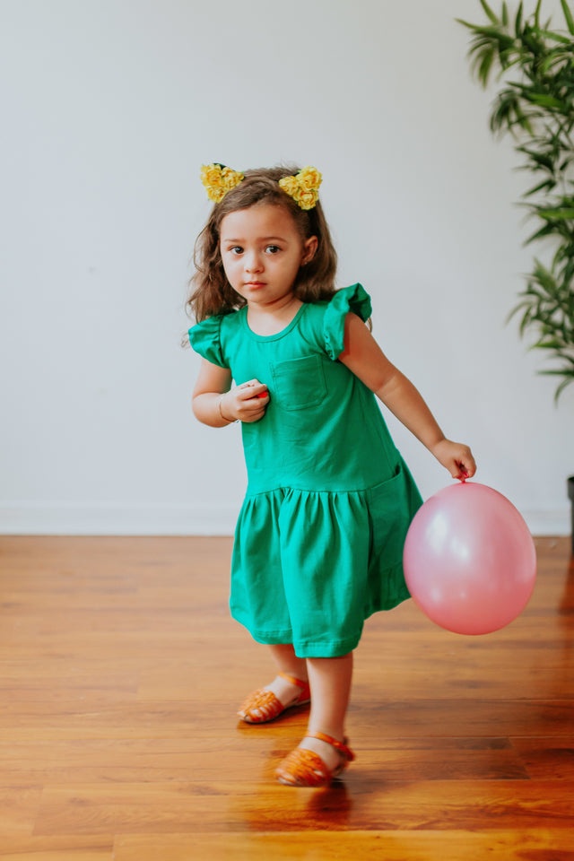 kids green jersey dress