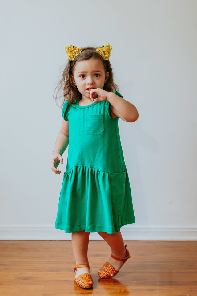 little girls green jersey dress
