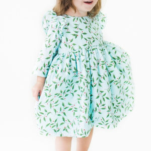 Girl's Blue Cotton Holly Print Holiday Dress