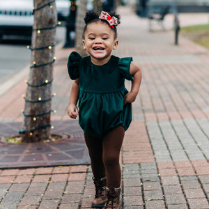 Infant Girl's Green Velvet Romper