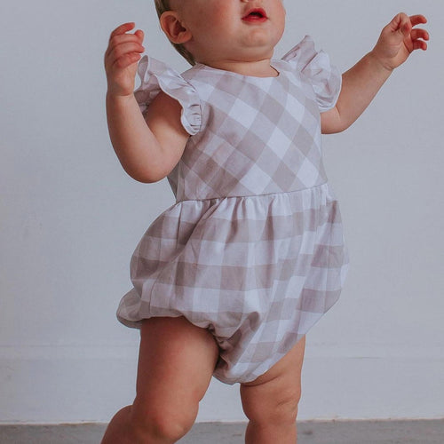 Infant Girl's Gray-Beige Plaid Cotton Bubble Romper
