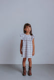 Little Girl's Gray-Beige Plaid Ruffle Cotton Dress