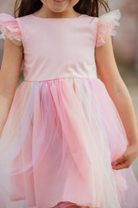 little girls ombre tulle rainbow dress