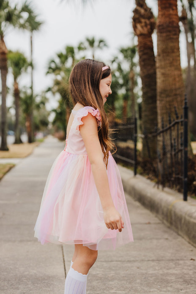 Little Girl's Pink Ombre Flutter Sleeve Tulle Dress