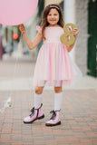 Little Girl's Pink Ombre Flutter Sleeve Tulle Party Dress