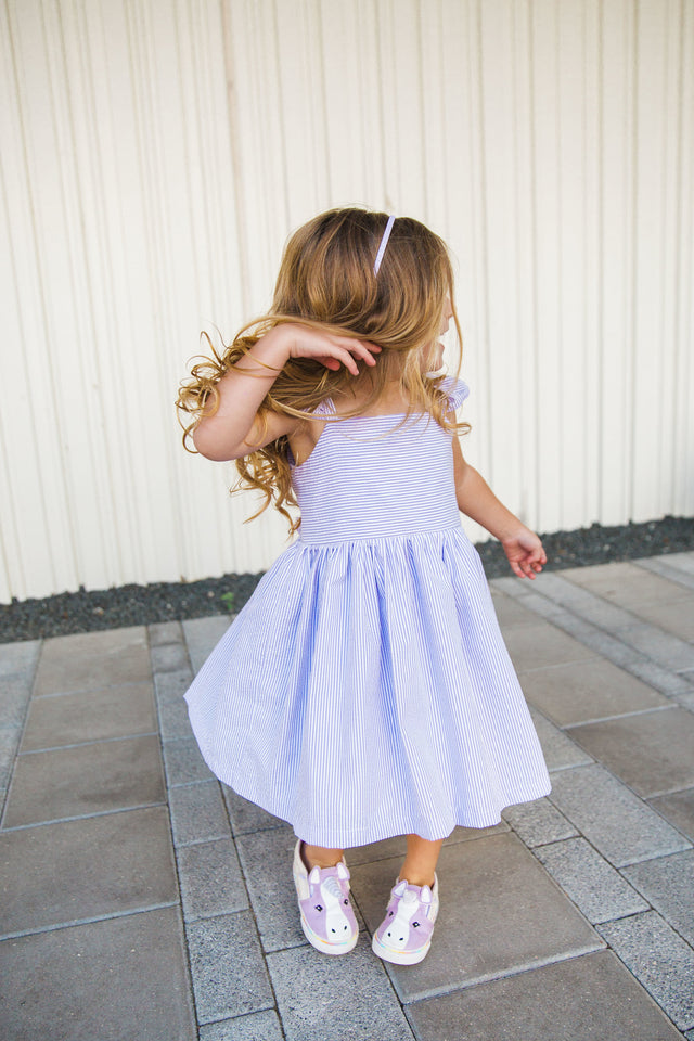 kids lavender seersucker dress