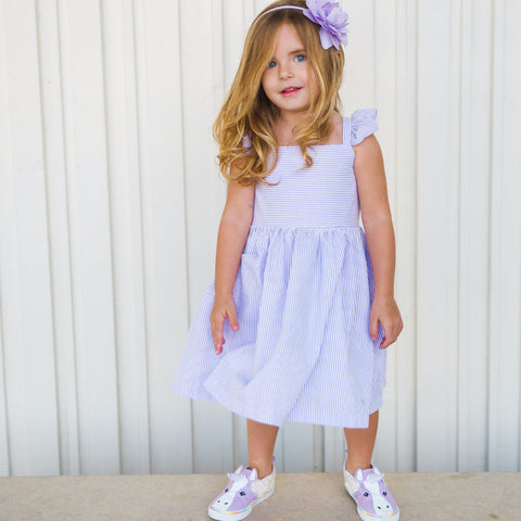 Lilah Lavender Seersucker Dress