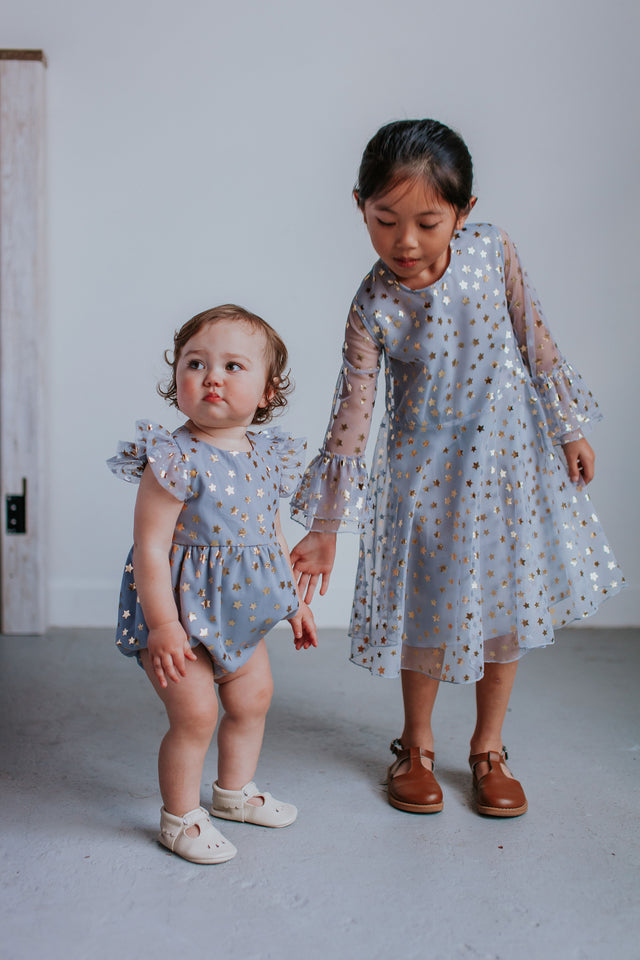 little girls gray matching dress and romper