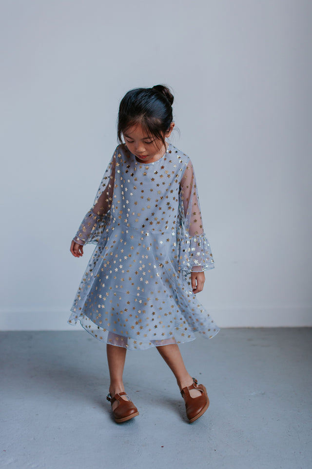 little girls gray tulle party dress