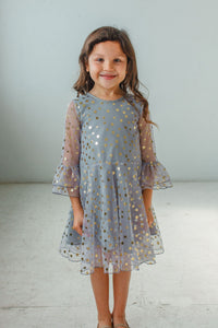 little girl's gray tulle dress