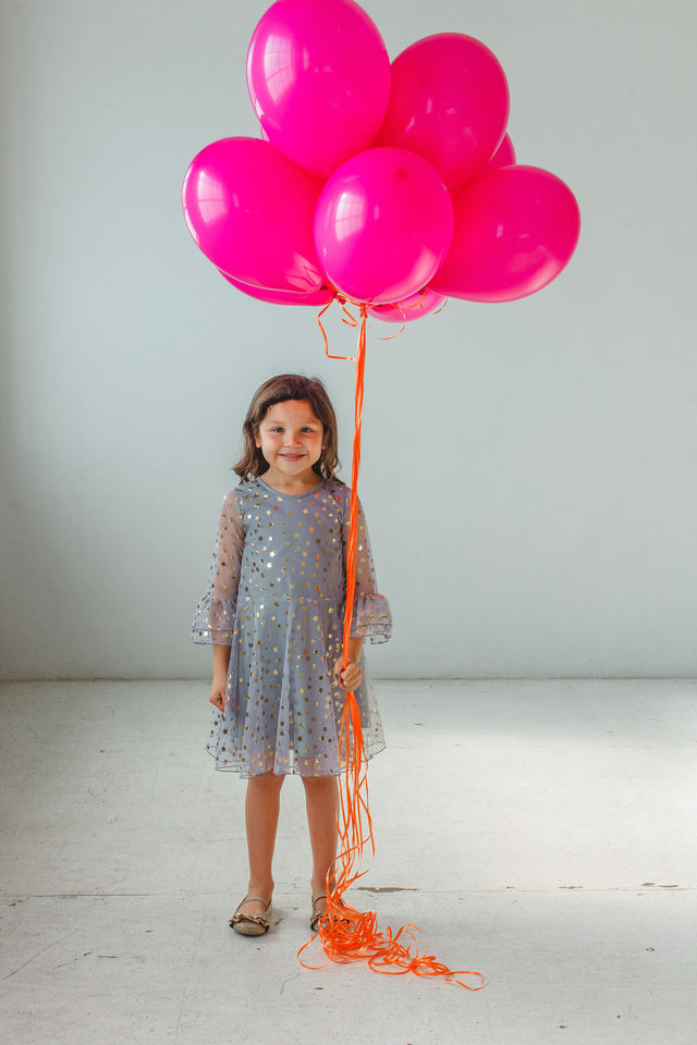 Little Girl's Gray Tulle Bell Sleeve Dress with Gold Stars
