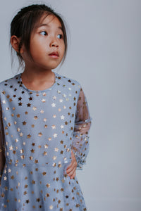 little girls gray tulle star special occasion dress