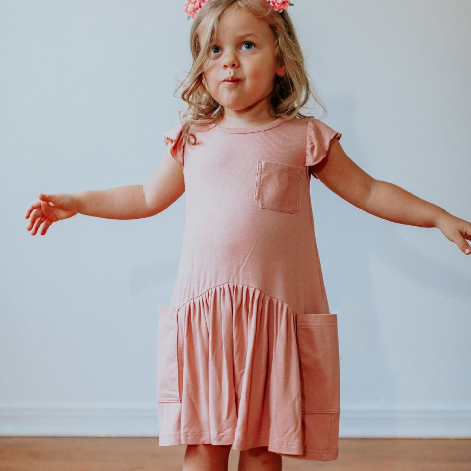 Little Girl's Dusty Rose Pink Cotton Jersey Three Pocket Dress