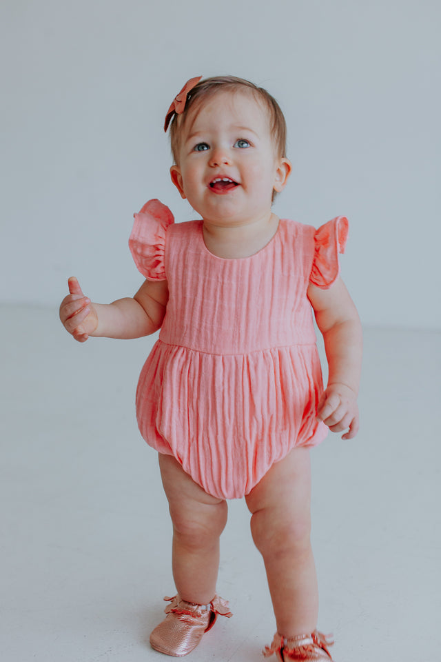 Infant Girl S Peachy Pink Double Gauze Muslin Bubble Romper Cuteheads