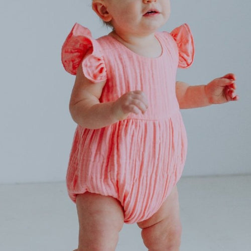 Infant Girl's Pink Double Gauze Muslin Bubble Romper