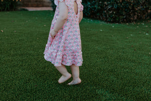 pink jersey ruffle rainbow dress