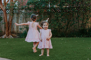 matching pink rainbow dresses