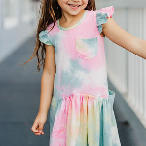 little girls ruffle tie dye dress