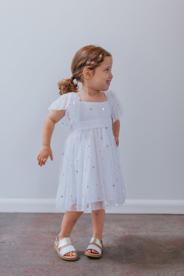 girls white and gold tulle dress