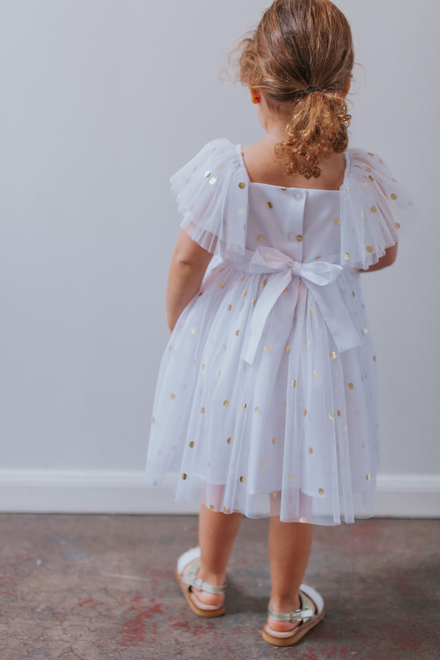 Girl's White Tulle and Gold Polka Dot Flutter Sleeve Special Occasion Dress