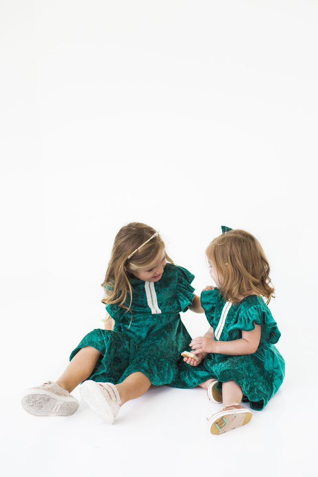 Girl's Green Crushed Velvet Christmas Dress