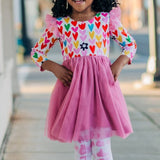 Little Girl's Mulicolor Hearts Tulle Dress